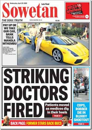 Striking Doctors Fired Sowetan April 29 2009