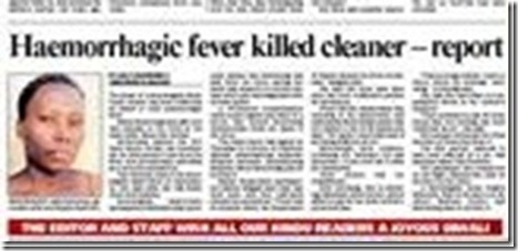 Cleaner was killed by HaemorrhagicFeverMorningsideClinicOct27TheStar Mtembu
