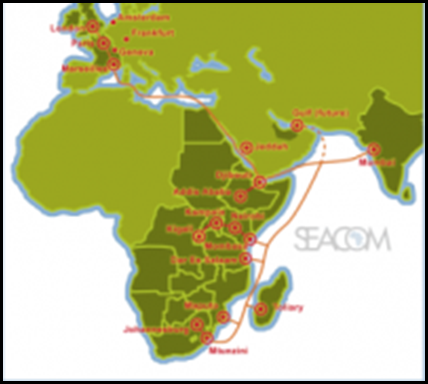 SEACOM fibreoptic cable route Africa