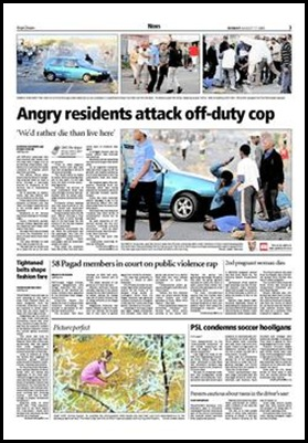 Cop attacked by mob in Khayelitsha Jeffrey Abrahams pix Cape Argus Aug172009