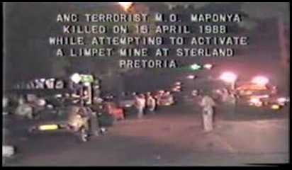 PretoriaSterlandBomb16April1988KilledANCterrorirst MO Maponya
