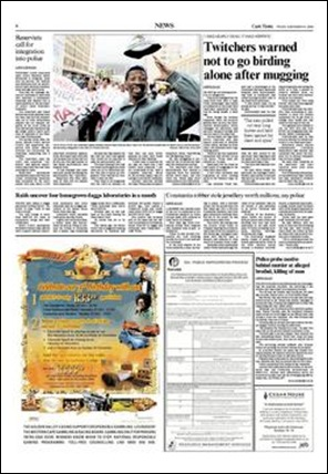 Cape Times Page 6 Constantia mansions looted, birder murdered... Nov 6 2009