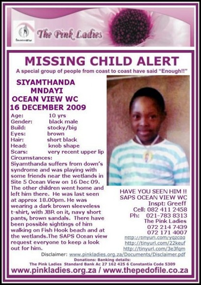 down&#39;s syndrome boy Siyamthanda Mndayi missing 16Dec2009 OceanView