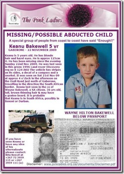 Bakewell Keanu 5, missing, Gaborone Botswana possibly abducted by dad Wayne SA citizen 22Nov2009