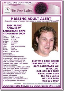 Schwulst Eric Frank 4 Dec 2009 missing from Langebaan