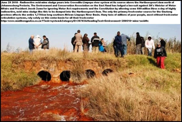 Acid Mine Drainage outflow from Hippo Dam Pic Mariette Liefterink