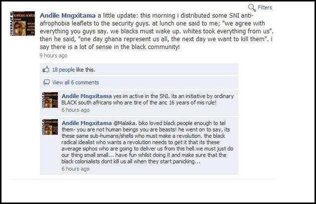 ANTIWHITE THREATS ANDILE MNGXITAMA JULY92010