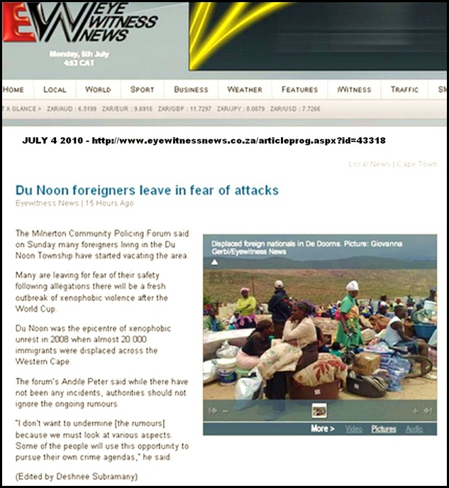 XenophobicFearForeignAfricansFleeDuNoonMilnertonJuly42010Radio702News