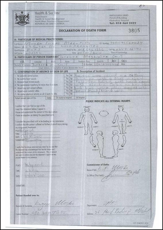 Smit Johanna Magrietha Death certificate July42010