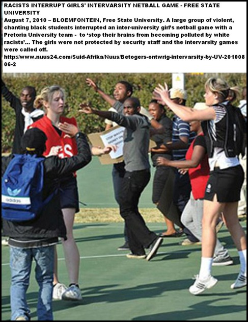 Demonstrators at girls netball game Universities Freestate and Pretoria violent Aug62010