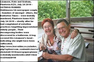 Lizamore Graham 62 and Kate 50 founded Barberton Times murdered Pinetown KZN July 24 2010