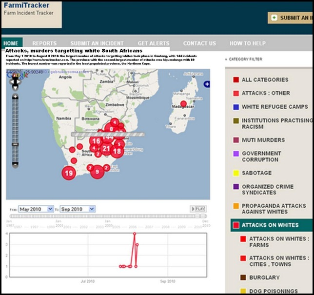 Attacks against whites SA May 2010 to Aug 9 2010