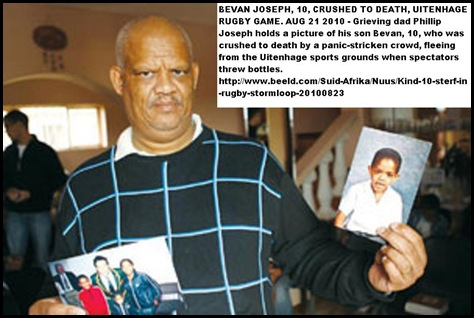 Joseph Bevan 10 pic held by dad Phillip killed in Uitenhage rugby rush
