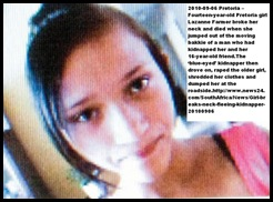 Farmer Lazanne 14 dies after escaping from kidnapper_rapist Pretoria Sept52010