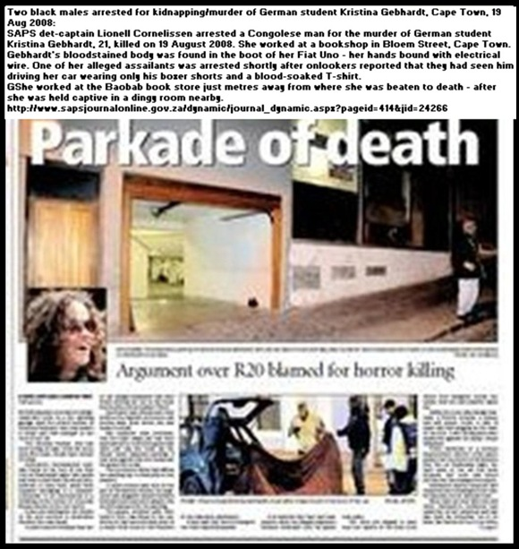 Gebhardt Kristina beaten to death after R20 parking row with guards Cape ARgus Aug2009