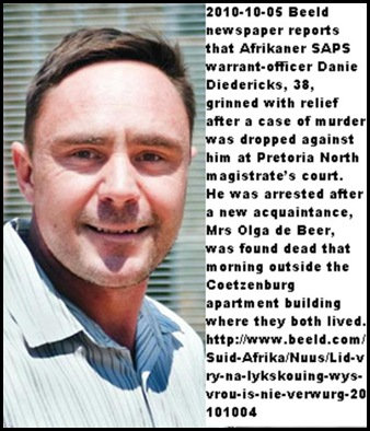 Diedrichs warrant officer Diedericks 38 Pretoria North OlgaDeBeer death not his fault