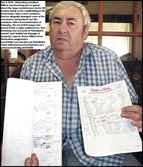 Van Rensburg Willem long list of rental arrears took tractor to rental home of Kleinboy selogilwe