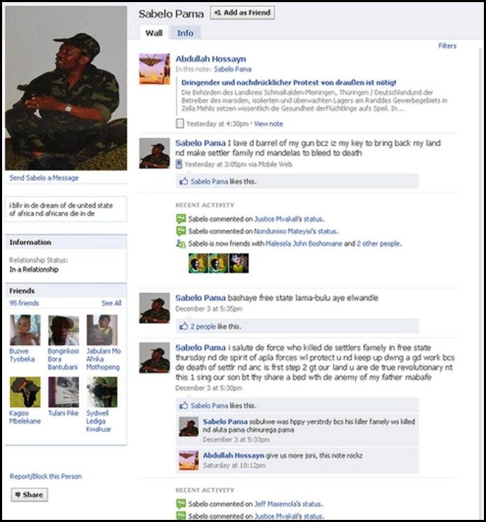 ANTIWHITE HATESPEECH SABELO PAMA FACEBOOK PAGE1 POTGIETER FAMILY MURDER DEC12010