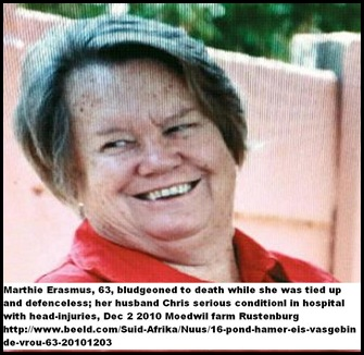 Erasmus Marthie Dec32010 killed with 16pnd_Hammer while tied up Moedwil NW Rustenburg