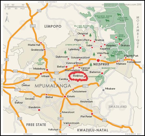 MAP BADPLAAS MPUMALANGA SOUTH AFRICA