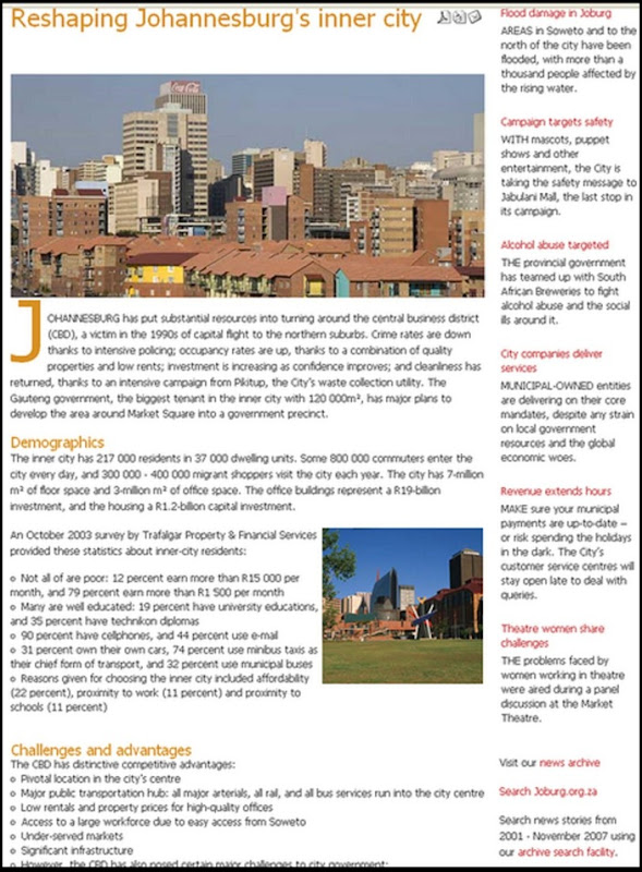 JOHANNESBURG CITY PROMISES TO RESHAPE INNNER CITY DEC2010