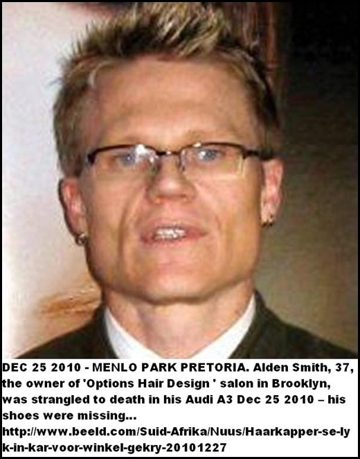 Smith Alden Pretoria Options Hair Design owner strangled to death in car Dec 25 2010