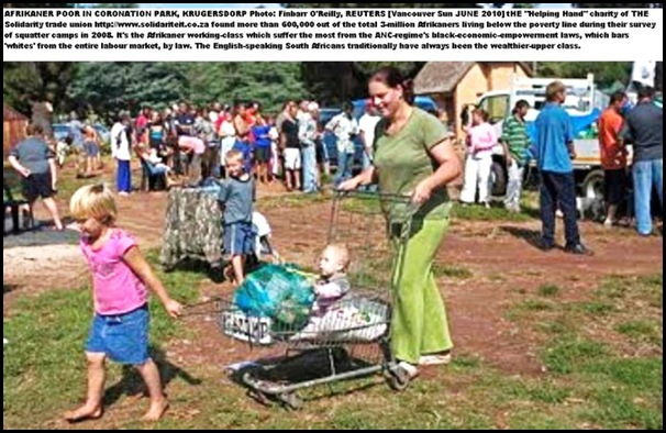 Afrikaner Poor in Coronation Park Krugersdorp THREATENED WITH FORCED REMOVAL TO BLACK MUNCIEVILLE CAMP