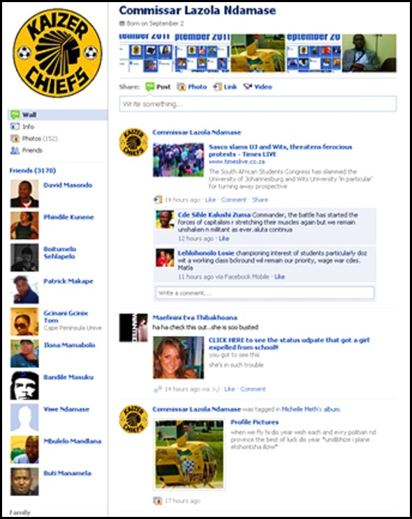 ANC SASCO ORGANISER NDAMASE FACEBOOK PAGE JAN132011