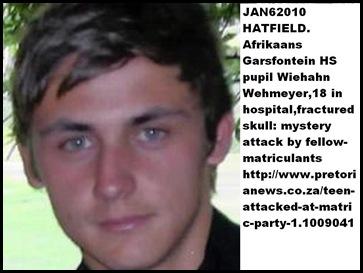 Wehmeyer Wiehann matriculant Hatfield attacked by fellow pupils Jan62010