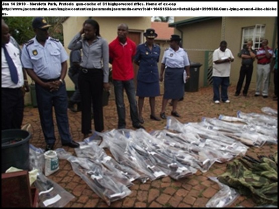 ARMS CACHE MORELETA PARK GAUTENG JAN 14 2011 31 HUNTING RIFLES AMMO