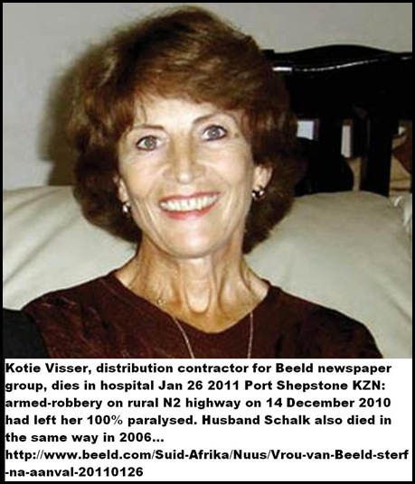 Visser Kotie Beeld distribution contractor dead Jan272011 6 wks after attack PT SHEPSTONE14Dec_N2