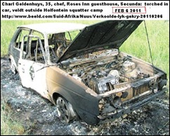 Geldenhuys Charl found next to torched VW Holfontein squatter camp Jan62011