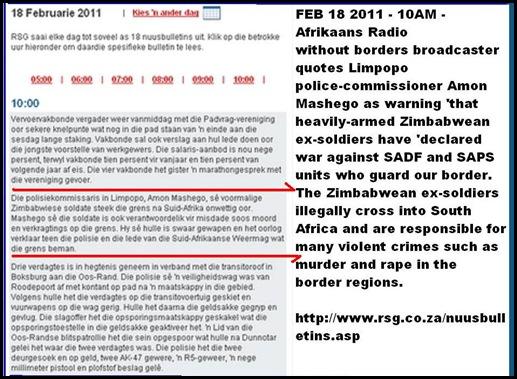 ZIMBABWEAN EXSOLDIERS DECLARE WAR ON SADF SAPS CROSS BORDER FOR CRIME