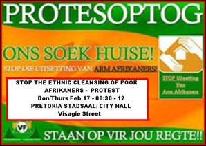 AFRIKANER POOR ETHNICALLY CLEANSED FROM PRETORIA PROTEST FEB172011 WESMOOT