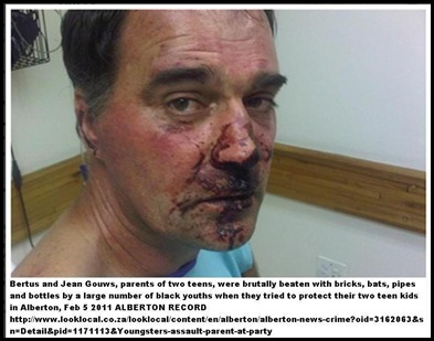 Gouws Berthus brutally beaten by black youths ALBERTON Feb112011