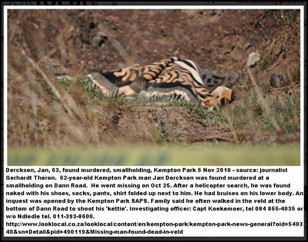 DERCKSEN Jan 62 found murdered Kempton Park smallholding_CaptKoekemoerTEL0848554035