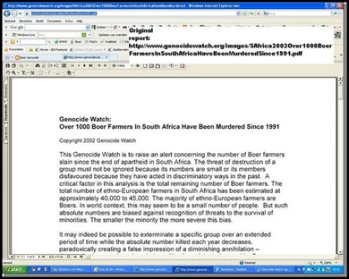 Genocide Watch 2002 Alert over Boer Farmers Slain since apartheid in South Africa Nr 1