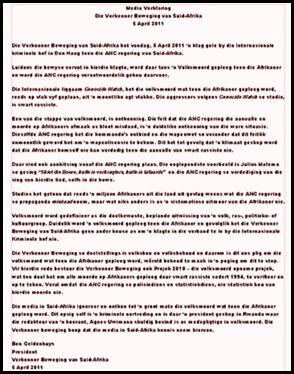 ANC SA govt GENOCIDE petition International criminal court The Hague Apr52011