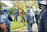 Tatane Andries Shot at close range by police Ficksburg collapses and dies Pic WillemvanderBergVolksblad