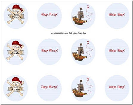Talk Like a Pirate Cupcake Toppers
