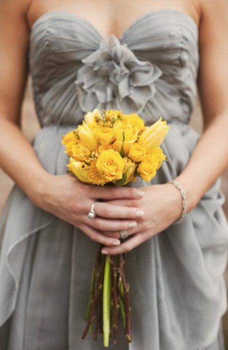 grey bridesmaids dress with yellow flowers