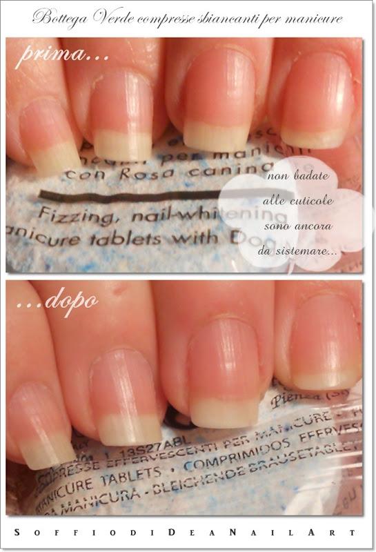 Bottega Verde compresse sbiancanti manicure prima-dopo1