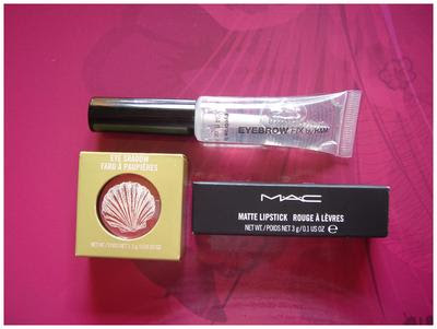 Eyebrow fix H&M, MAC firecracker, MAC Viva Glam I