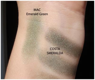 MAC Emerald Green vs Costa Smeralda Neve Makeup