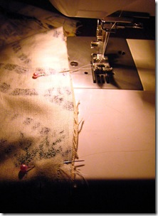 sew lining to bag
