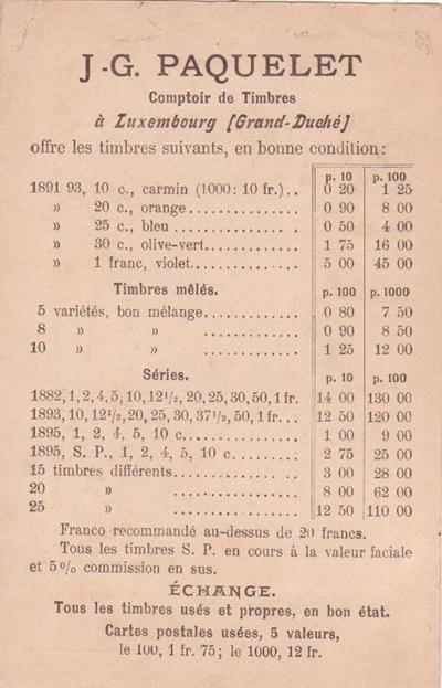 P53-Paquelet pricelist to England 1898