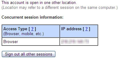 Gmail concurrent session information