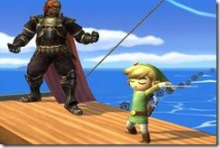 Link ensinando Ganondorf a arte da condução musical