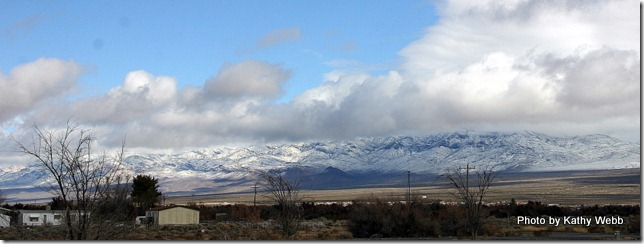Looking North at the Mtns. Covered in Snow