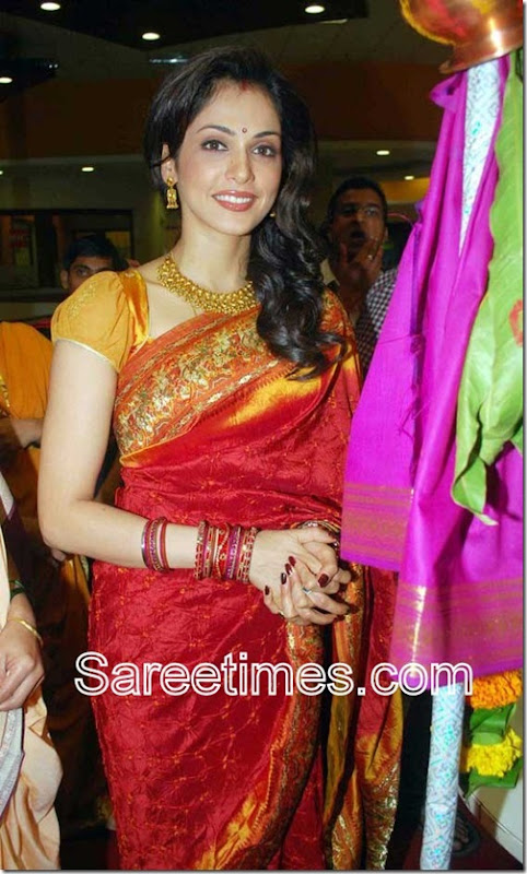 Isha-Koppikar-Red-Designer-Saree